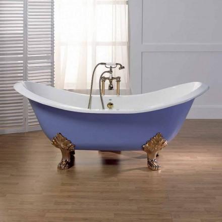 Baño vidriada y pintada con pies de fundición de hierro Carril