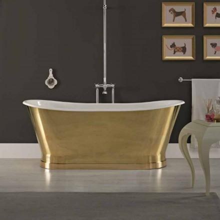 diseño de baño de hierro fundido con cubierta exterior de latón Roy
