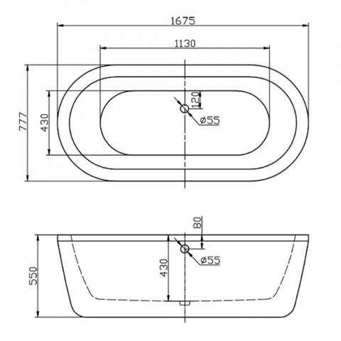 Baño de diseño acrílico blanco independiente Nicole Pequeño 1675x777 mm