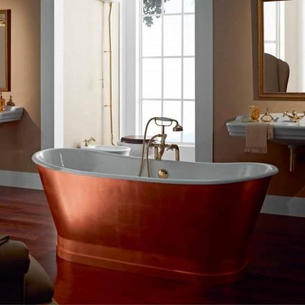 independiente baño de hierro fundido con cubierta exterior en la hoja de cobre Bass
