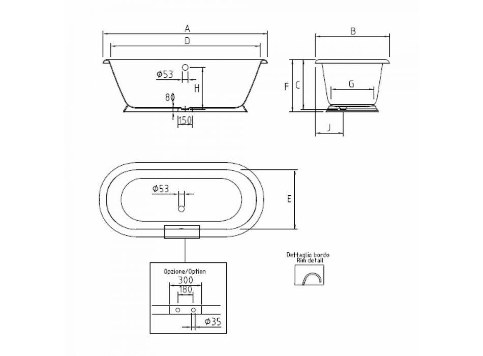 Bañera independiente de hierro fundido estilo vintage, Made in Italy - Orsola