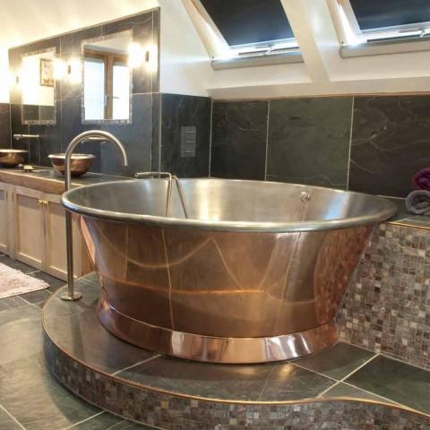 Bañera de cobre independiente redonda, plateada Vanessa White Hierro