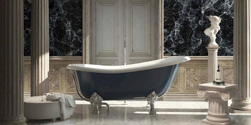 Bañera independiente de resina azul de diseño clásico, Fregona