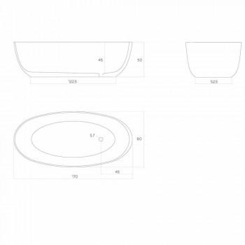 Bañera moderna monobloque ovalada hecha en Italia, Frascati