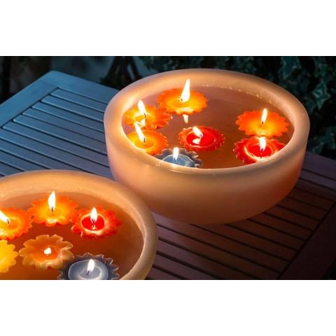 Bañera redonda de cera con velas flotantes de colores Made in Italy - Utina