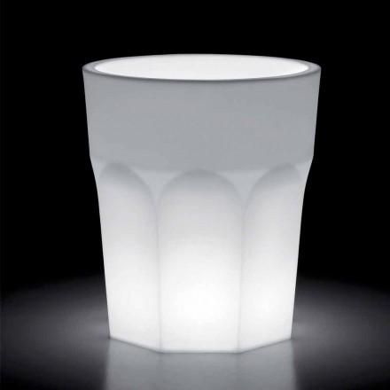 Jarrón de polietileno decorativo brillante con luz LED Made in Italy - Pucca