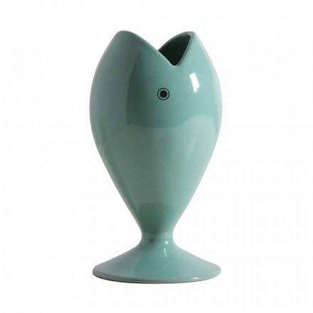 Florero de cerámica artesanal moderno hecho en Italia - Besugo