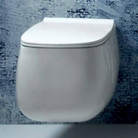 Jarrón suspendido de cerámica de diseño moderno blanco Gaiola, hecho en Italia
