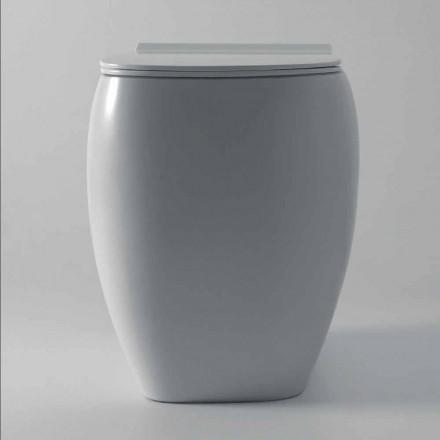 Jarrón WC de cerámica blanco con diseño moderno Gais, hecho en Italia