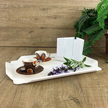 Bandeja de cocina elegante en tabla de cortar rectangular de Corian blanco - Ivanova