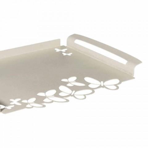 Bandeja de servicio de diseño de hierro blanco, beige o marfil Made in Italy - Leiden