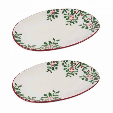 Bandeja Navideña o Plato Ovalado en Porcelana 2 Piezas - Pungitopo
