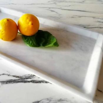 Bandeja rectangular en mármol de Carrara blanco pulido Made in Italy - Alga