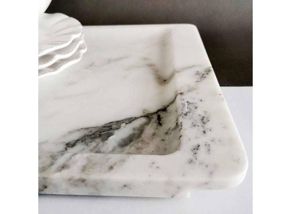 Bandeja rectangular en mármol blanco veteado moderno Made in Italy - Stora