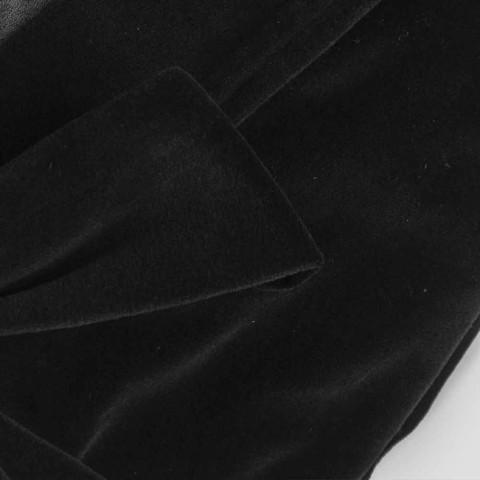 Bata kimono en chenilla negra con encaje Farnesio, lujo Made in Italy - Kyoto