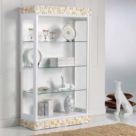 Displays en el diseño de madera con estantes de vidrio 3 Kush, fabricado en Italia