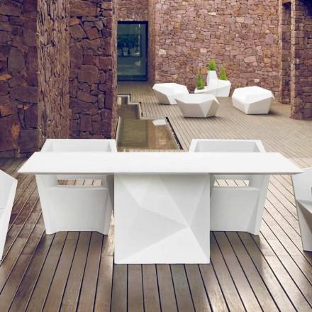 Vondom Faz mesa de jardín lacada en blanco L200xP100cm de diseño