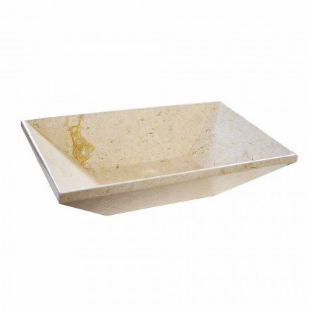 Lavabo sobre encimera de wok en mármol, forma trapezoidal